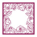 Laser Cut  Rose Square Frame. Cutout Pattern Silhouette Wi Royalty Free Stock Image - 76944496
