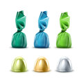 Set Of Chocolate Candies In Colored Foil Wrapper Stock Photography - 76950362