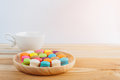 Macarons, Coffee And Macarons Colorfull In Wooden Bowls Stock Photo - 76958600