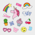 Fashion Patch Badges With Different Elements. Set Of Stickers, Pins, Patches And Handwritten Notes Collection In Cartoon Stock Images - 76961104