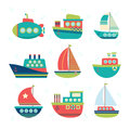 Different Kind Of Boats. Set Of Sea Transport. Fishing Boats, Ya Royalty Free Stock Image - 76965476