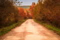 Beautiful Fall Autumn Forest Landscape Old Road Stock Image - 76983941