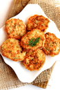 Cutlets From Minced Fish With Dill On A Plate. Delicious Cutlets Fried In Vegetable Oil In A Frying Pan. Salmon Recipe Royalty Free Stock Photos - 76988928