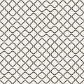 Vector Seamless Black And White Round Line Grid Geometric Pattern Stock Images - 76989744