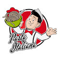Happy Man Serving Spaghetti With A Text That Means Italian Pasta Royalty Free Stock Photography - 77007387