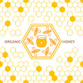Outline Bee  Symbol And Seamless Background With Honeycombs. Royalty Free Stock Photo - 77020495