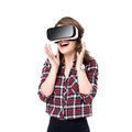Happy Girl Getting Experience Using VR Headset Glasses Of Virtual Reality, Much Gesticulating Hands, Isolated Stock Photos - 77029773