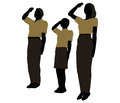 Man, Woman And A Child Silhouette In Military Salute Pose Stock Photo - 77038720