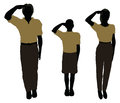 Man, Woman And A Child Silhouette In Military Salute Pose Royalty Free Stock Photos - 77038738