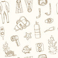 Doodle Seamless Pattern Of Diving Tools Vintage Illustration Royalty Free Stock Photo - 77043635