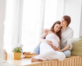 Pregnancy. Happy Family Future Parents Pregnant Mother And Fathe Royalty Free Stock Photography - 77051547
