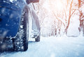 Car Tires On Winter Road Royalty Free Stock Photos - 77082038