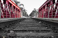 Train Track Made Of Wood, Metal And Stones On Red Bridge With Some Background Of Palm Trees Stock Photo - 77088420