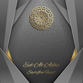 3d Eid Al Adha Greeting Card,invitation Islamic Style.Arabic Circle Golden Pattern.Gold Ornament On Black,islamic Stock Image - 77091521