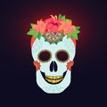 Traditional Mexican Catrina Skull With Paint Decoration And Colorful Spring Time Flower Arrangement On Hair Stock Image - 77099661