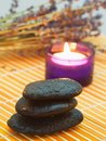 Pebbles, Candle And Lavender. Stock Images - 7710094