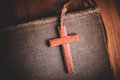 Image Of Wooden Cross On Bible Background Royalty Free Stock Images - 77110829