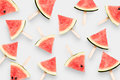 Top View Watermelon Ice Cream Isolated On White Background. Clip Stock Photos - 77116373