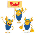 Happy Halloween Cartoon Monsters Set For Shopping Discount Banners. Monster Holding Sale Sign Stock Photos - 77122483