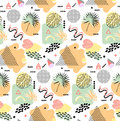 Retro Vintage 80s Or 90s Fashion Style. Memphis Seamless Pattern. Trendy Geometric Elements. Modern Abstract Design Royalty Free Stock Photos - 77128298