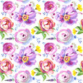 Painted Wildflower Flowers Background Pattern In A Watercolor Style. Stock Image - 77140411