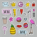 Set Of Fashion Patches, Badges, Pins, Stickers. Cool Trendy Hand Drawn Design. Isolated Objects Royalty Free Stock Image - 77140556