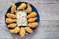 Baked Chicken Wings With Yogurt Dip Royalty Free Stock Image - 77142136