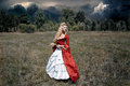 Woman In Antique Red Dress Stock Images - 77150314