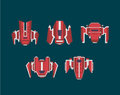 Flat Spaceship Set. Royalty Free Stock Photography - 77157627
