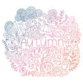Doodle Fall Card With Word Autumn, Floral Elements, Rain Cloud And Drops, Tree Fall, Acorn, Umbrella, Mushrooms, Curly Lines. Royalty Free Stock Photography - 77157967