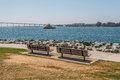 Two Park Benches At Embarcadero Park South In San Diego Stock Image - 77171571