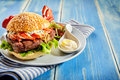 Bacon, Lettuce And Mayo Hamburger With Copy Space Royalty Free Stock Photo - 77182025
