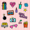 Set Of Fashion Patches And Badges Stock Images - 77183104