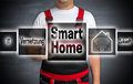 Smart Home (in German Networking Future) Home Touchscreen Is Ope Royalty Free Stock Images - 77194229