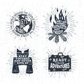 Hand Drawn Textured Vintage Labels Set Of Vector Illustrations. Royalty Free Stock Photos - 77194908