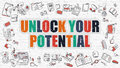 Unlock Your Potential Concept With Doodle Design Icons. Stock Photography - 77197142