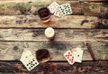 Old Wooden Table To Play Cards From Above Stock Photography - 77203582