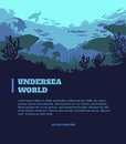 Undersea World Illustration Background, Colored Silhouettes Elements, Flat Stock Image - 77233441