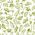Olives Branches And Olive Oil Seamless Wallpaper Stock Image - 77236811