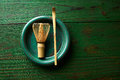 Matcha Tea Bamboo Whisk Chasen And Spoon Royalty Free Stock Photography - 77239407