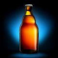 Bottle Of Beer Or Cider Isolated On Dark Blue Background Royalty Free Stock Photo - 77246255