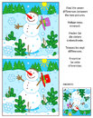 Winter, New Year Or Christmas Find The Differences Picture Puzzle With Snowman Stock Images - 77253464