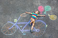 Little Kid Boy Having Fun With Bike Chalks Picture Stock Photography - 77254812