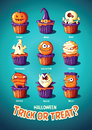 Halloween Vintage Vector Poster. Trick Or Treat. Cakes With Monsters Royalty Free Stock Image - 77273376