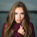 Beautiful Girl In A Sweater Royalty Free Stock Photography - 77275807