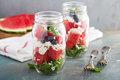 Watermelon Salad In A Jar With Feta Royalty Free Stock Photography - 77279987