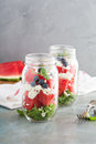 Watermelon Salad In A Jar With Feta Stock Images - 77280014