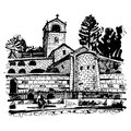 Black And White Hand Drawing Of Cetinje Monastery - Ancient Capi Stock Image - 77293391