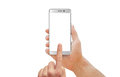 White Modern Smartphone With Curved Edge In Man Hand. Stock Images - 77297024