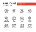 Retro Devices - Line Design Icons Set Royalty Free Stock Photos - 77318458